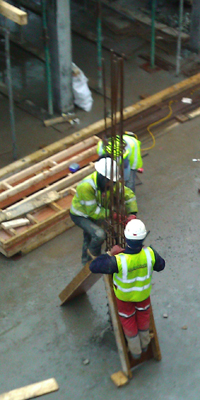 Steel fixers reinforcing insitu concrete columns at our site in Tottenham - copyright RAA LLP